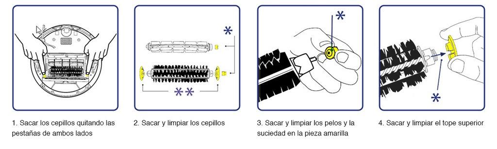 limpiar cepillos del roomba